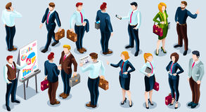 Isometric People Trendy Business 3D Icon Set Vector Illustration. Isometric people isolated meeting staff infographic. 3D Isometric boss person icon set Royalty Free Stock Photos