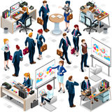 Isometric People Trendy Teamwork Icon 3D Set Vector Illustration. Trendy 3D isometric group of isolated bank business people. Employee desk staff character icon Stock Photos