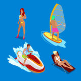Isometric People on Vacations. Woman with Cocktail. Man on Water Scooter. Woman in Sunbed. Surfing Man. Royalty Free Stock Images