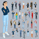 Isometric people vector set. Set of isometric 3d flat design vector people different characters, styles  and professions. Isometric acting man and woman full Stock Photo