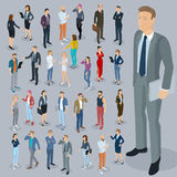 Isometric people vector set. Set of isometric 3d flat design vector people different characters, styles  and professions. Isometric acting man and woman full Royalty Free Stock Image