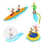 Isometric People on Water Activity. Kayaking, Man on Flyboard and Trampoline Royalty Free Stock Photo