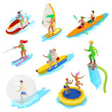 Isometric People on Water Activity. Woman Surfer, Kayaking, Man on Flyboard and Water Skiing Royalty Free Stock Image