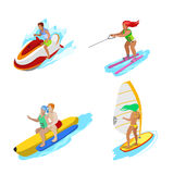 Isometric People on Water Activity. Woman Surfer, Water Skiing, Man Hydrocycle Royalty Free Stock Images