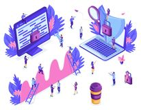 Isometric people work, business promotion, take-off on the career ladder, concept of protecting computer data for a web page. Application development. Isolated royalty free illustration