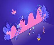 Isometric people work, business promotion, take-off on the career ladder, data analysis and investment infographics overview. Young entrepreneurs stock illustration