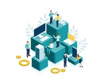 Isometric people work in a team and achieve the goal. People interacting with charts and analyzing statistics. Data vector illustration