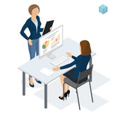 Isometric people working in office. Stock Photos