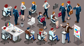 Isometric People Working Staff 3D Icon Set Vector Illustration vector illustration