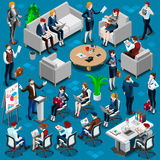Isometric People Young Boss 3D Icon Set Vector Illustration Stock Photography
