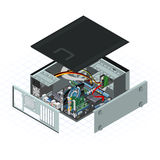 Isometric Personal Computer Vector Illustration. This image is a personal computer with some peripherals on motherboard Stock Image