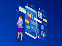Free Isometric Personal Data Information App, Identity Private Concept. Digital Data Secure Banner. Biometrics Technology Stock Photos - 139206433