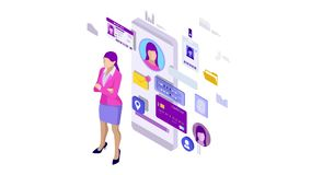 Isometric personal data information app, identity private concept. Digital data secure banner. Biometrics technology for