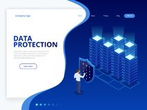 Isometric personal data protection web banner concept. Cyber security and privacy. Traffic Encryption, VPN, Privacy. Protection Antivirus. Vector illustration Royalty Free Stock Image