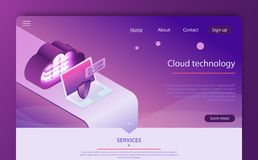 Isometric personal data protection web banner concept. Mobile payments, personal data protection. stock illustration