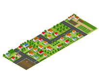 Isometric perspective farms. Isometric perspective view of a rural area with village houses, gardens, trees and farms Royalty Free Stock Photos