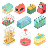 Isometric Pet Carriers with Aquarium and Portable House for Cat, Hamster and Bird Stock Photography