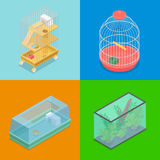 Isometric Pet Carriers with Aquarium and Portable House for Hamster and Bird Stock Images