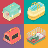 Isometric Pet Carriers with Portable House for Cat and Hamster Royalty Free Stock Photo