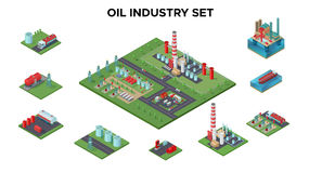 Isometric Petroleum Industry Concept. With oil plant platform refinery drilling rigs transport gas station barrels industrial equipment isolated vector vector illustration