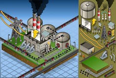 Isometric petroleum plant in production of energy. Detailed animation of a isometric petroleum plant in production of energy Stock Photography
