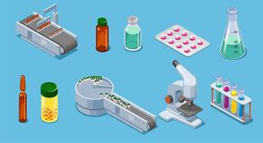 Isometric Pharmaceutical Industry Elements Set. With packing equipment pills drugs bottles tubes pipette microscope isolated vector illustration royalty free illustration