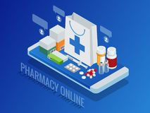 Isometric pharmacy online concept. Finger touch pay button on screen for medicine online payment via application. Pills. On smartphone vector illustration Royalty Free Stock Images