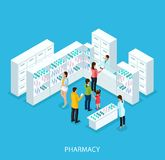 Isometric Pharmacy Store Concept. With pharmacist at counter and customers buying pills and drugs vector illustration Stock Image