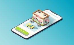 Isometric phone with coffeehouse, road and taxi car. 3D vector illustration. vector illustration