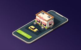 Isometric phone with coffeehouse, road and taxi car on dark purple. 3D vector illustration. royalty free illustration