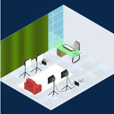Isometric photo studio room interior with workplace, equipment, professional lighting and fotoaparat. vector illustration