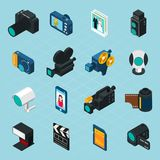 Isometric Photo And Video Icons Stock Photography