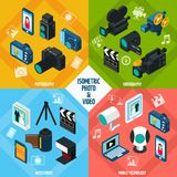 Isometric Photo Video Set. Isometric photo and video design concept set with photography and videography 3d icons isolated vector illustration Stock Images