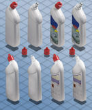 Isometric Photograph - Bottle of Detergent Cleaner. Isometric Photograph - Liquid White Bottle of Detergent Cleaner for bathroom with clipping path and free copy royalty free stock photography