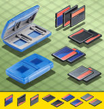 Isometric Photograph - Set of  3 CF card and a Blu Royalty Free Stock Photography