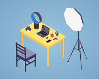 Isometric photographer workplace Royalty Free Stock Image