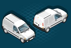 Isometric pickup van. Isometric white van in two position Royalty Free Stock Photography