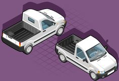 Isometric pickup van Royalty Free Stock Image