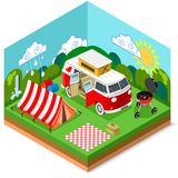 Isometric Picnic Summer Time Royalty Free Stock Photos