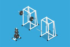 Isometric gym equipment Royalty Free Stock Photo