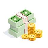 Isometric pieniądze odizolowywający na białym tle Fotografia Stock