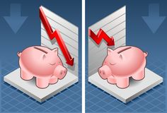 Isometric piggy bank box. With red arrow down exchange Royalty Free Stock Photography