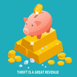 Isometric Piggy bank, gold bullion, diamond and coins icon. Thrift is a great revenue concept Royalty Free Stock Photography