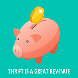 Isometric Piggy bank, gold bullion, diamond and coins icon. Thrift is a great revenue concept Royalty Free Stock Photos