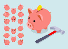 Isometric piggy bank. Set of the piggy moneyboxes. The objects are  against the light-blue background and shown from different sides Stock Photos
