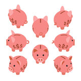 Isometric piggy bank Royalty Free Stock Photos