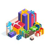 Isometric pile of gift boxes  on white background. Bright icons of colorful gifts. 3d presents with ribbons and bows. Vector illustration Royalty Free Stock Image