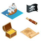 Isometric Pirate accessories flat icons. Collection with wooden treasure chest and black jolly roger flag. Vector Royalty Free Stock Photography