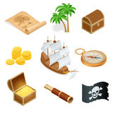 Isometric Pirate accessories flat icons. Collection with wooden treasure chest and black jolly roger flag. Vector Stock Photos