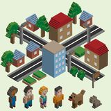 Isometric pixel city Stock Photo